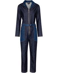 A.P.C. Rosie Belted Denim Jumpsuit - Blue