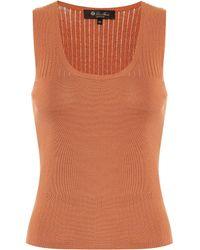 Loro Piana Tangery Silk And Cotton Knit Tank Top - Orange