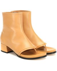 Loewe Thong 60 Leather Ankle Boots - Natural