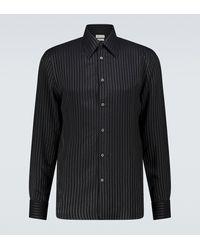 Alexander McQueen Pinstriped Long-sleeved Shirt - Black