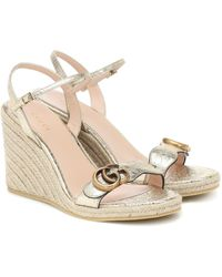 Gucci Double G Leather Espadrille Wedges - Metallic