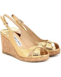 Jimmy Choo Amely 80 Leather Wedge Sandals - Metallic