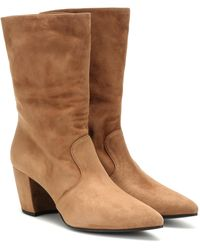 Prada Suede Ankle Boots - Natural