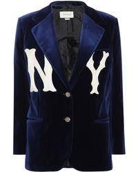 Gucci - Blazer NY Yankees en velours à appliqués - Lyst