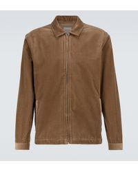 Sunspel Cotton Corduroy Harrington Jacket - Brown