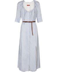 Altuzarra Robe longue Giselda à carreaux - Blanc