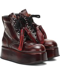 Marni Patent Leather Platform Ankle Boots - Red