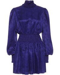 Balmain Vestido corto de seda - Azul