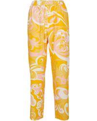 Emilio Pucci Pantalones rectos de algodón estampado - Amarillo