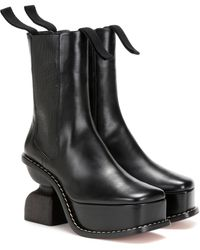 Loewe Platform 100 Leather Ankle Boots - Black