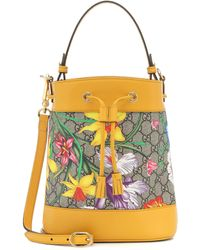 Gucci Ophidia GG Flora Small Bucket Bag - Yellow
