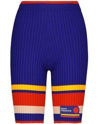 Paco Rabanne Gestreifte Shorts aus Rippstrick - Blau
