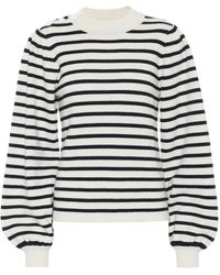 Ganni Striped Knit Puff Sleeve Pullover In Egret - Multicolour