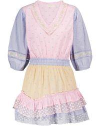 LoveShackFancy Vestido corto Adley de algodón - Multicolor