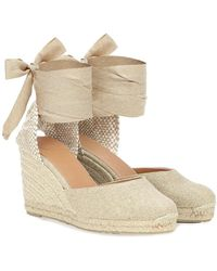 Castaner Espadrillas Carina in canvas con zeppa - Neutro