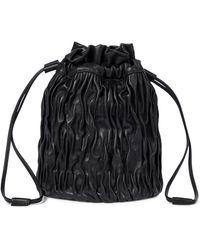 Ganni Leather Bucket Bag - Black