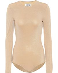 Maison Margiela - Metallic Jersey Bodysuit - Lyst