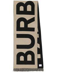Burberry Sciarpa in lana con logo - Neutro