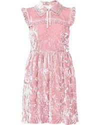 Miu Miu Minikleid aus Samt - Pink
