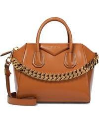 Givenchy Cabas Antigona Chain Small en cuir - Marron