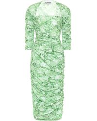 Ganni Robe en popeline à fleurs - Vert