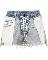 Unravel Project Shorts con effetto vissuto - Blu