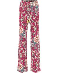 Etro Floral High-rise Wide-leg Trousers - Pink