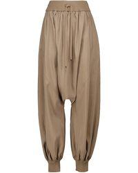 Loewe Pantalones anchos en mezcla de seda - Marrón