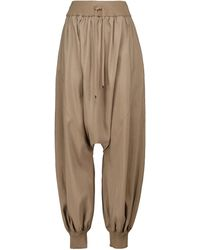 Loewe High-rise Wide-leg Silk-blend Trousers - Brown