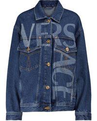 Versace Logo Printed Denim Jacket - Blue