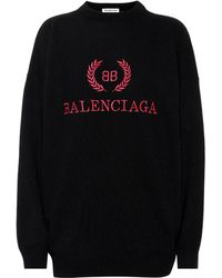 Balenciaga Embroidered Wool-blend Sweater - Black