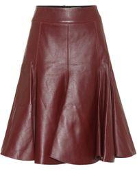 Dorothee Schumacher Modern Volumes Leather Midi Skirt - Red