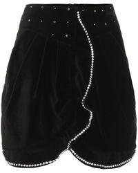 Isabel Marant Mini-jupe Queeny en velours à ornements - Noir