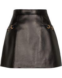 Gucci Leather Miniskirt - Black