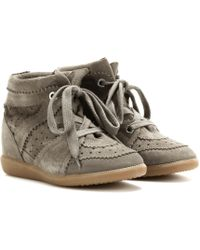 Isabel Marant Toile Bobby Concealed Wedge Suede Trainers - Green