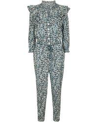 Veronica Beard Combi-pantalon Tanay en coton à fleurs - Bleu