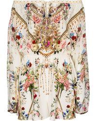 Camilla Combi-short en soie à fleurs et ornements - Multicolore