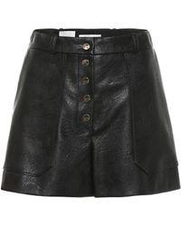 Stella McCartney Faux Leather High-rise Shorts - Black