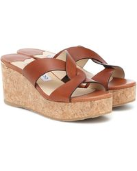Jimmy Choo Atia 75 Platform Leather Wedge Sandals - Brown