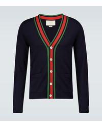Gucci Cardigan aus Wolle mit Webstreifen - Blau