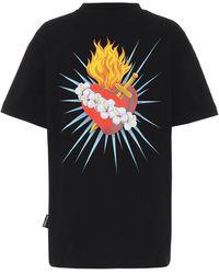 Palm Angels Sacred Heart Cotton-jersey T-shirt - Black