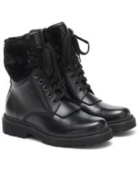 Moncler Patty Leather Ankle Boots - Black