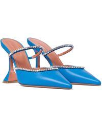AMINA MUADDI Verzierte Mules Gilda aus Leder - Blau