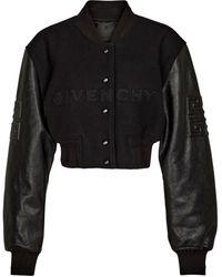Givenchy Cropped-Jacke aus Wolle und Leder - Schwarz