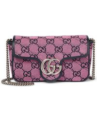 Gucci Bolso GG Marmont Multicolor Super Mini - Rosa