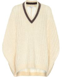 Brunello Cucinelli Mohair And Wool-blend Poncho - Natural