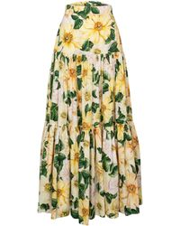 Dolce & Gabbana Floral Cotton Poplin Maxi Skirt - Yellow