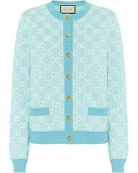 Gucci Cárdigan GG de lana y algodón - Rosa