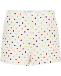 Valentino Polka-dot Wool And Silk Shorts - Multicolour