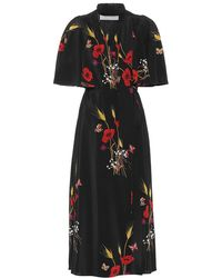 Valentino Printed Silk Wrap Dress - Black